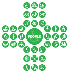 Green cruciform disability and people icon collect vector