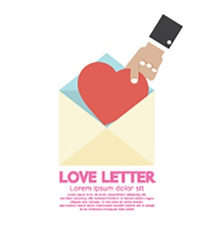 Hand Pick A Heart Love Letter Concept vector image vector image