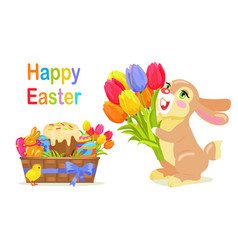happy easter postcard design in flat style vector image vector image