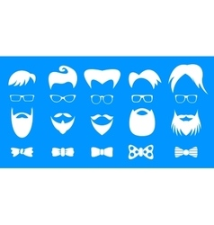 Hipster elements white silhouette set vector