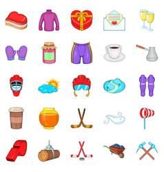 Hockey clothing icons set cartoon style vector