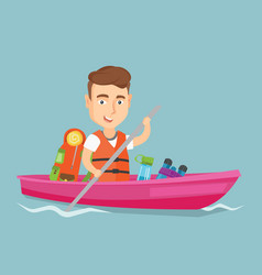 Man riding in kayak vector
