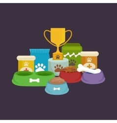 Pet food in bowl bone meal for dogs eating vector
