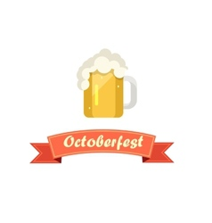 Pint of beer on octoberfest with ribbon vector