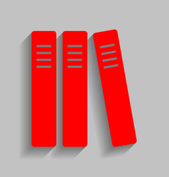 row of binders office folders icon red vector image vector image