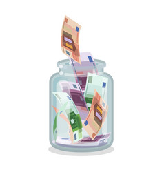 Saving flat money jar vector