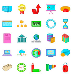server hacking icons set cartoon style vector image vector image