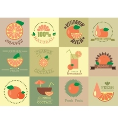 set of icons with orange vector image vector image