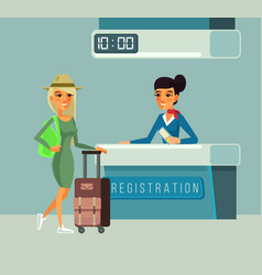 tourist woman character registers for flight vector image vector image