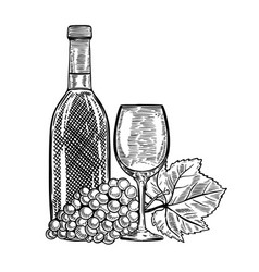 Vintage wine bottle with grapes and wine glass vector