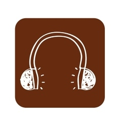 Earphone wire music icon vector
