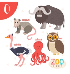 Letter o cute animals funny cartoon animals in vector