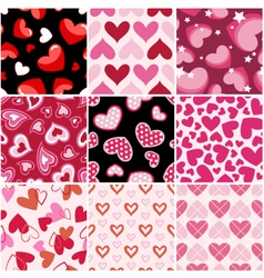Seamless heart fabric pattern set vector