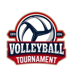 Volleyball tournament emblem template with vector
