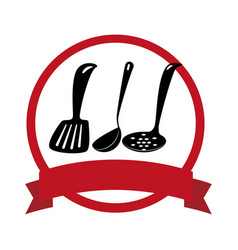 circular emblem with spoon set vector image