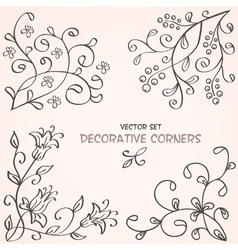 Floral decorative corners vector