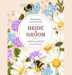 wedding invitation with meadow flowers vector image