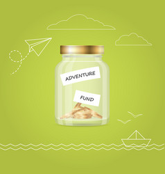 Money jar with coins travel fund financial vector