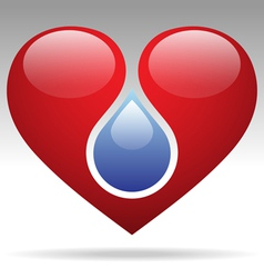 drop and heart vector image