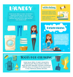 Housewife doing household chores banner template vector