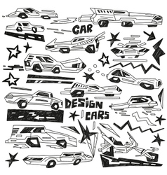 Super cars - doodles vector