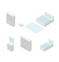 Set of bedroom furniture isometric drawing vector