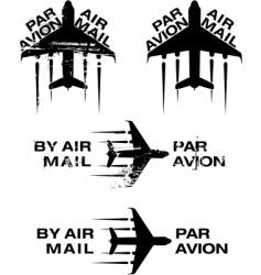 par avion rubber stamp vector image