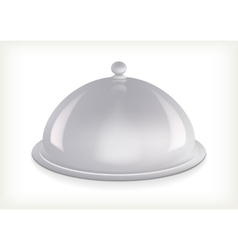 Silver serving dome isolated vector