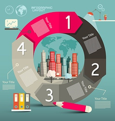 Infographics template - layout with city vector