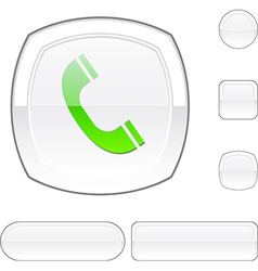 Telephone white button vector