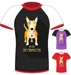 T-shirt with bull terrier dog champion vector