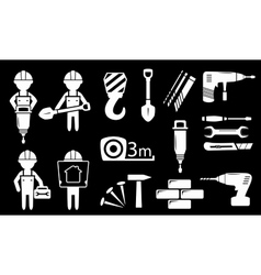 Set white construction industry objects vector