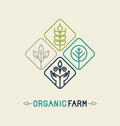 agriculture and organic farm line logo vector image