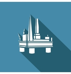 Offshore oil platform icon vector