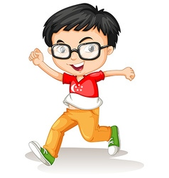 Singapore boy wearing glasses vector