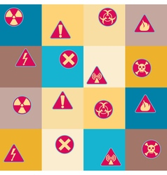 Seamless geometrical background with warning signs vector