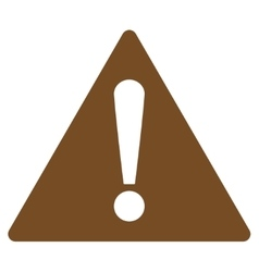 Warning flat brown color icon vector