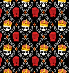 Skull Crown and boxing gloves with Baroque vector image