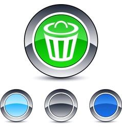 dustbin round button vector image