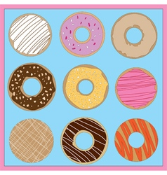Brightly coloured iced donuts vector