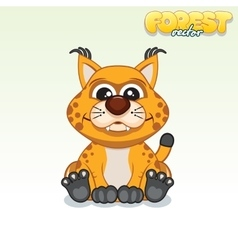 Cute cartoon red lynx funny animal vector