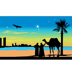 Arabian travelers vector