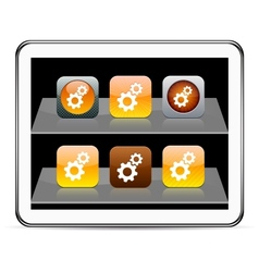 Tools orange app icons vector