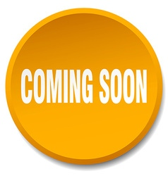 Coming soon orange round flat isolated push button vector