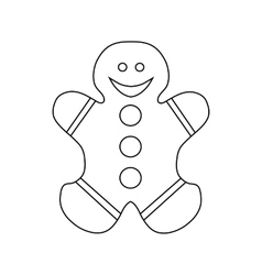 Gingerbread cookie icon outline style vector