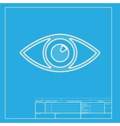 Eye sign  white section of icon on vector