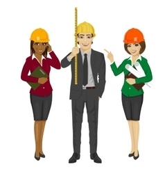 Architect team standing wearing safety helmet vector