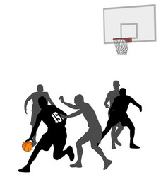 basketball game silhouettes vector image vector image