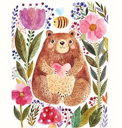 Bear and flower vector image vector image