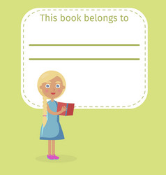 Blonde girl holds book and place for owner name vector